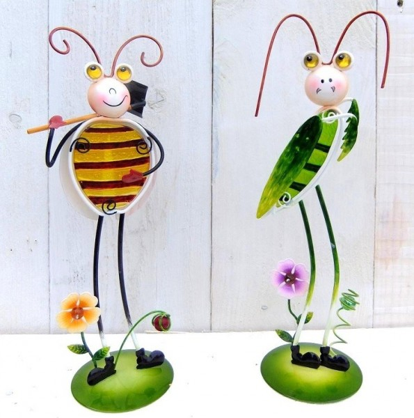Biene-Grashupfer-Grille-Figur-Tiffany-Glas