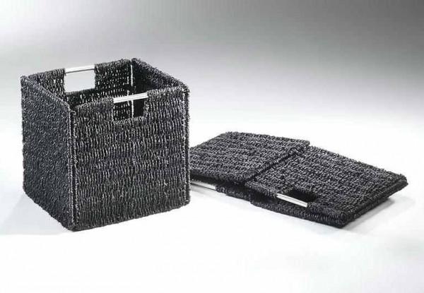 Seegras Regalkorb - faltbar schwarz