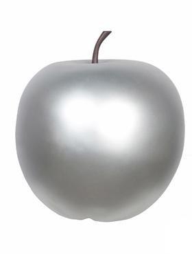 Apfel silber - apple fruit ein Kunstobjekt aus Fiberglas und Steinpulver
