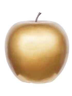 Apfel gold - apple fruit ein Kunstobjekt aus Fiberglas und Steinpulver