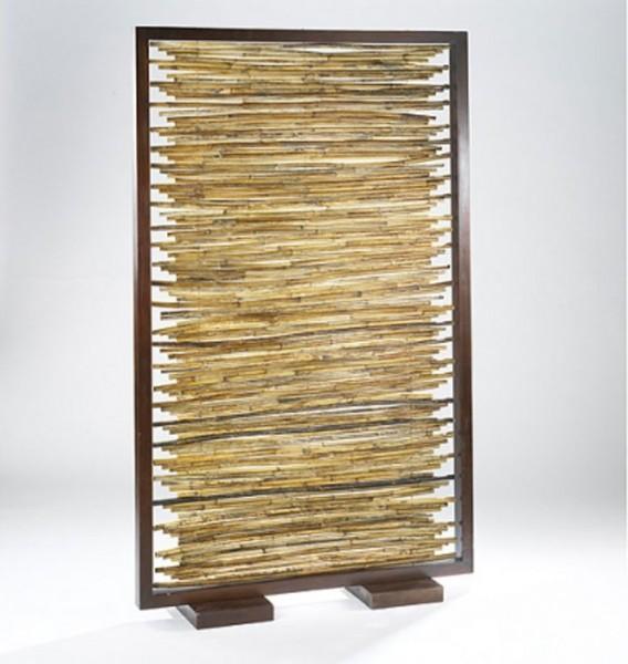 Paravent aus Bambus mit Holzrahmen