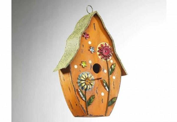 Vogelhaus Sommerblume aus Holz/Metall 38 cm