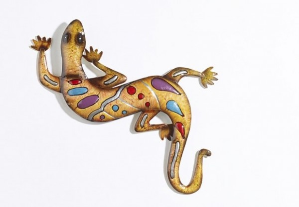Gecko | Bunte Metall Wanddeko