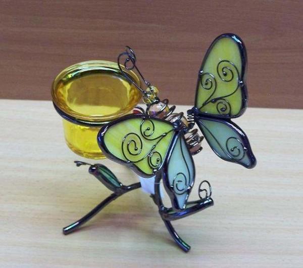 Schmetterling-Teelicht-Windlicht-Figur-Tiffany-Glas