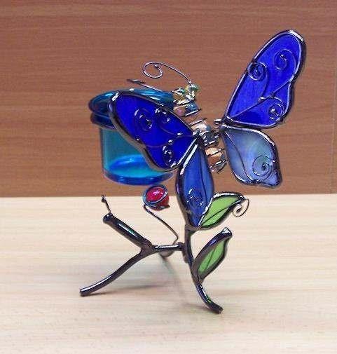 Blau-Schmetterling-Teelicht-Windlicht-Figur-Tiffany-Glas