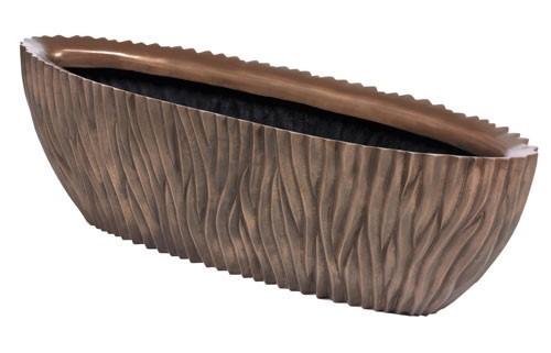 River-Oval-Bronze-Polystone-Pflanzschale