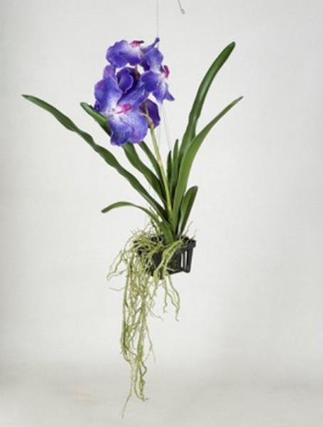 Vanda blau 50 cm   Orchideen Kunstpflanze im hängenden Korb