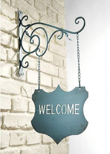 Blaues Welcome Hängeschild aus Metall