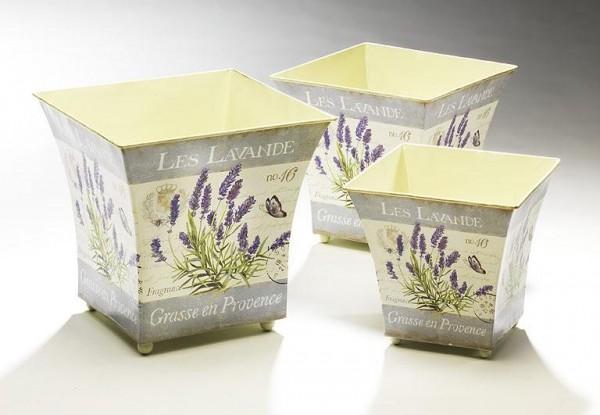 Deko-Übertopf Provence 3er Set quadratisch aus Metall mit Lavendeldeko
