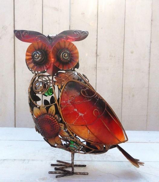 Eule-Ornament-Windlicht-Figur-Tiffany-Glas