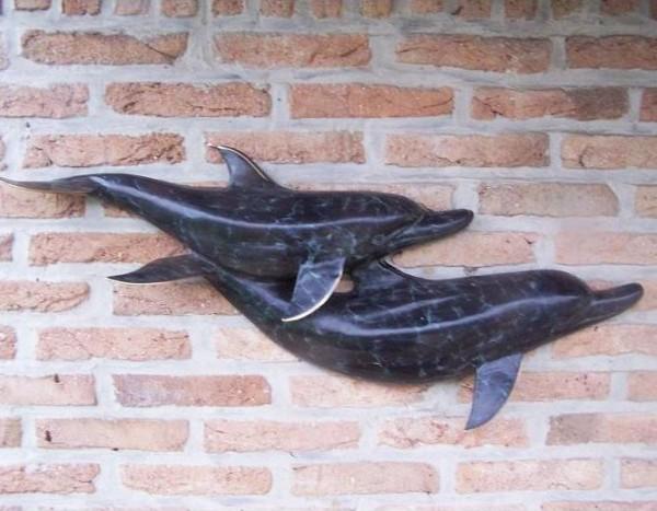 Wasserfountaine-Wasserspaier-zwei-Delphine-zum aufhaengen-Bronzefigur