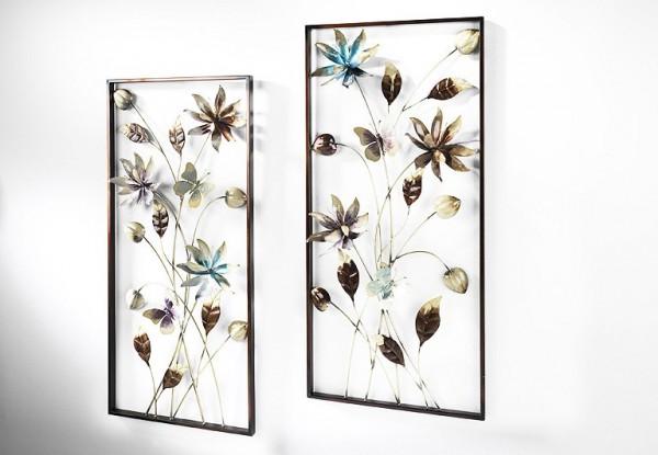 Wandbild-Blumen-Metall-Wanddekoration