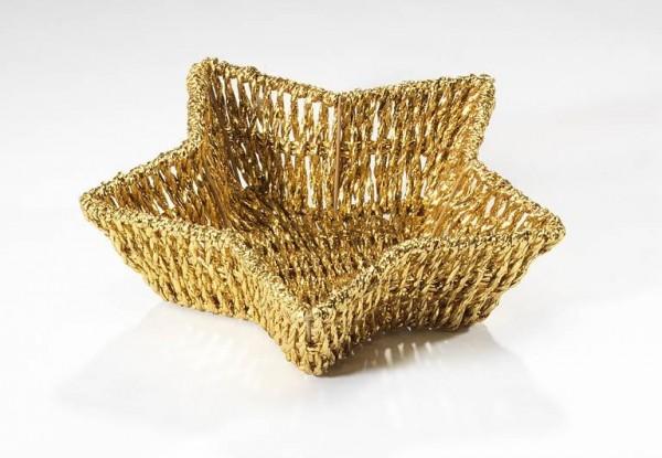Sternschale goldfarben Foliengeflecht | Weihnachtsdekoration