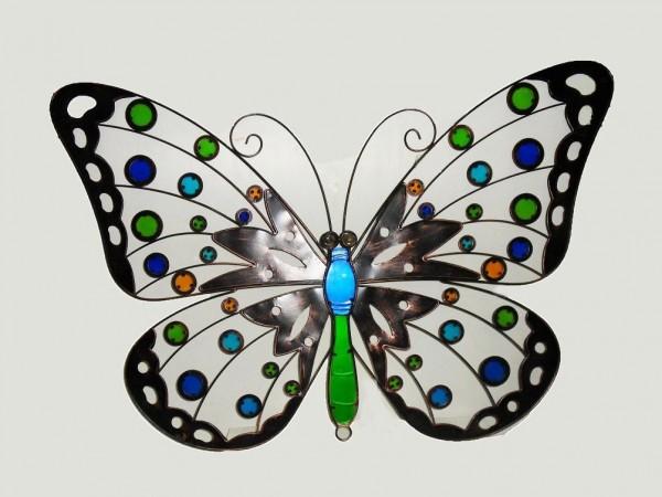 Grosser-Schmetterling-Wandhaenger-Metall-Glas