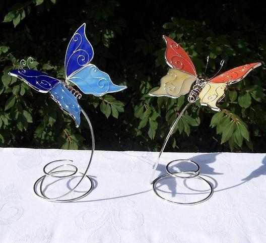 Schmetterling-auf-Spirale-Figur-Tiffany-Glas