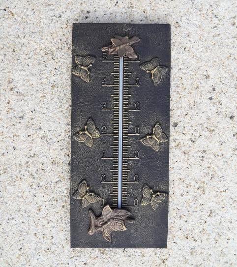 Bronze-Analog-Thermometer-Schmetterling-Motiv