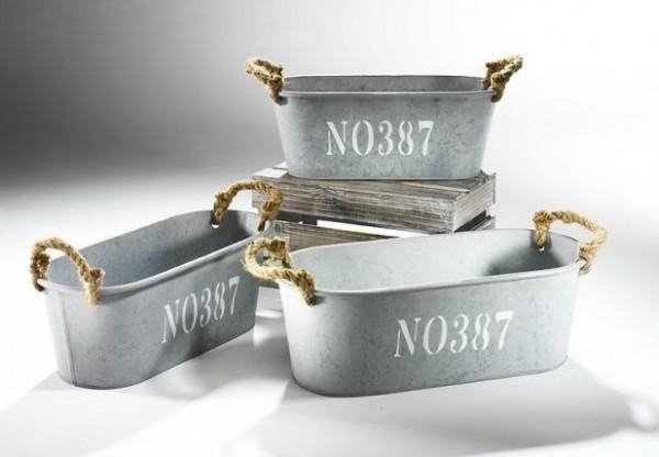 Pflanzschale oval aus Metall mit Seilgriffen | NO387