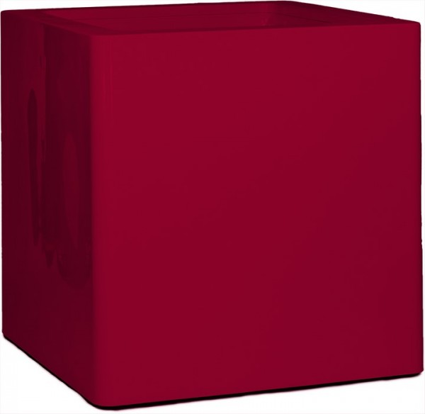 Premium Cubus Pflanzkübel rubinrot