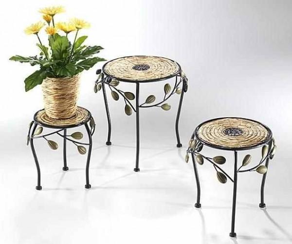 Blumentisch Hedra rund aus Rattan/Metall