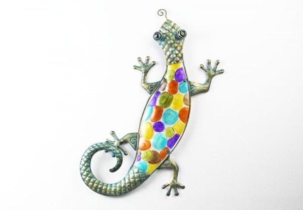 Deko Gecko Collo aus Glas und Metall