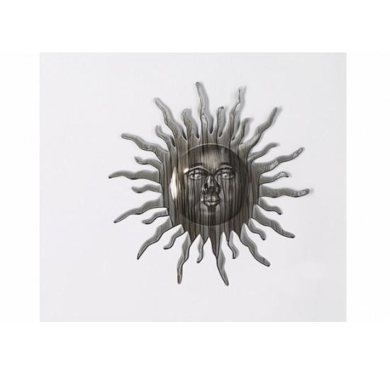 Wandbild kleine Sonne aus Metall | Silberanthrazit