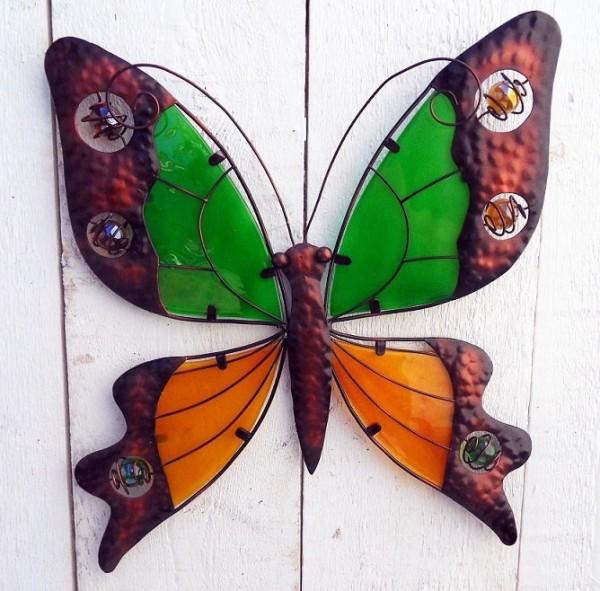 Schmetterling-Wanddeko-Metall-Glas