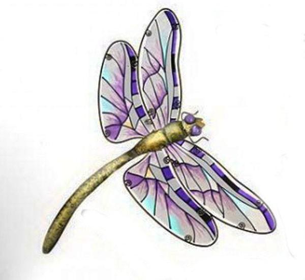 Deko Libelle aus Metall und Glas