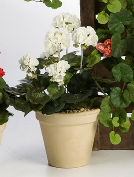 Geranium weiss 33 cm | Storchschnäbel Kunstpflanze im Topf