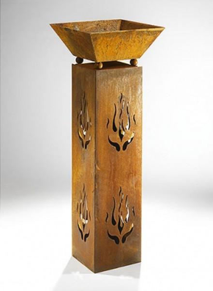 Flames Dekosäule mit Schale 90 cm - Naturrost Metall