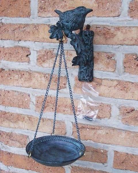 Vogeltränke - Vogelfutterschale aus Bronze | Wanddeko