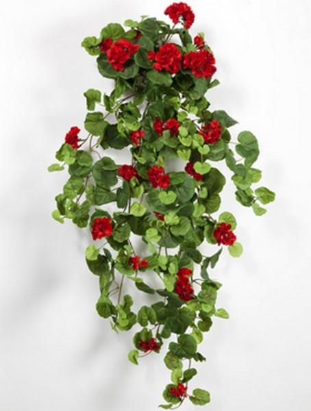 Geranium rot 90 cm | Storchschnäbel Kunstpflanze als hängender Busch