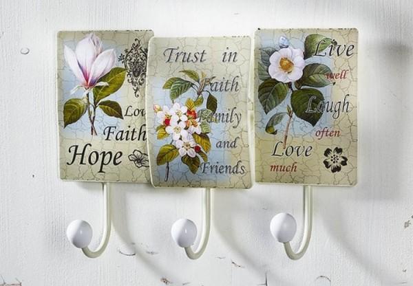 Garderobe Hakenleiste mit 3 Haken aus Metall | Blumendekor